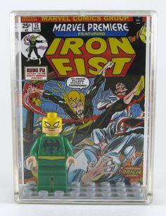 LEGO DC Marvel Superheroes Minifigure Display with figure - Iron Fist - Spider Man. $17.00, via Etsy.
