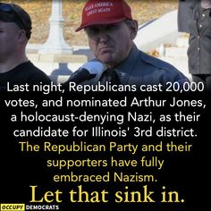 To be fair, the state and national level GOP officials did denounce him.  But 20,000 voters in one district DID vote for him.