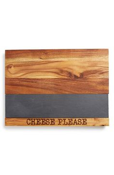 Classic Artisan Style 'Cheese Please' Acacia Cheese Board with Slate Inset available at #Nordstrom