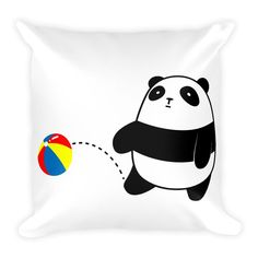 Pompo and this pillow are a fluffy combination! Pompo Beach Ball (White) - Square Throw Pillow