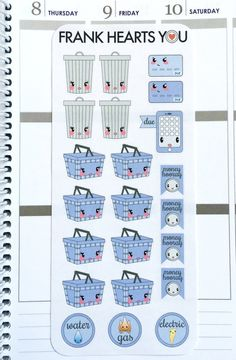 Kawaii Monthly Task Planner Stickers by FrankHeartsYou on Etsy