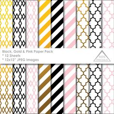 Black, Gold and Pink Papers, Gold Foil Pattern Paper Pack, Gold Foil Patterns, blush pink, quatrefoil, stripes, printable paper,digital jpeg