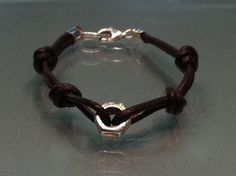 Silver and leather bracelet LUCKY NUT Handmade in by Sierpe y Becerril jewellers, $19.00  www.sierpeonline.net