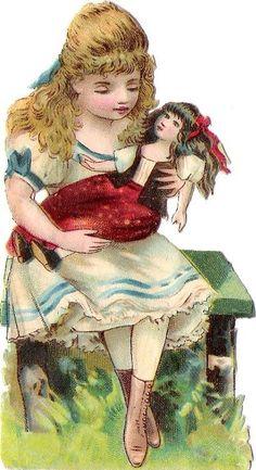 Oblaten Glanzbild scrap die cut chromo Kind child enfant Puppe doll poupee