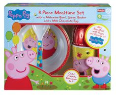 This mealtime set (with a yummy chocolate treat!) is available nationwide for all your little Peppa fans!