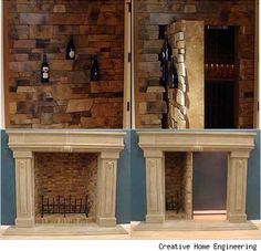 These two are among my favorite secret room - hidden passages. I think both would be great surprises, the breakaway wall and sliding panel in the fireplace.