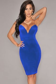 8598787e28 Blue Plunging V Neck Strapless Bodycon Party Dress