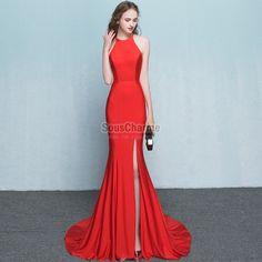 74226c6b6b8 2017 robe fendue rouge longue femme coupe sirène en satin avec traîne Robe  Rouge