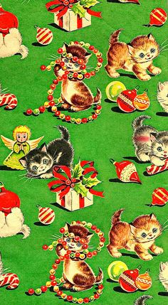 Vintage Kittens Christmas Wrapping Paper * 1500 free paper dolls Christmas gifts artist Arielle Gabriels The International Paper Doll Society also free paper dolls The China Adventures of Arielle Gabriel * Vintage Christmas Wrapping Paper, Vintage Christmas Images, Vintage Holiday, Vintage Gifts, Vintage Paper, Wrapping Paper Crafts, Noel Christmas, Christmas Paper, Retro Christmas