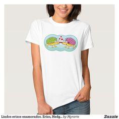 Lindos erizos enamorados. Erizo, Hedgehog. Producto disponible en tienda Zazzle (Redwood, California, United States). Vestuario, moda. Product available in Zazzle store. Fashion wardrobe. Regalos, Gifts. Día de los enamorados, amor. Valentine's Day, love. Trendy tshirt. Link to product: http://www.zazzle.com/lindos_erizos_enamorados_erizo_hedgehog_tee_shirt-235783055755615417?CMPN=shareicon&lang=en&social=true&rf=238167879144476949 #ValentinesDay #SanValentin #love #camiseta #tshirt