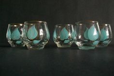 Roly Poly Bar Glassware Barware Blue by 4EnvisioningVintage