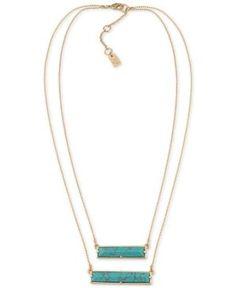 Lauren Ralph Lauren Gold-Tone Blue Rectangular Stone Double Row Pendant Necklace  - Gold