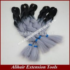 Black Grey, 24inch folded, 100grams per pack, ombre box jumbo braiding hair, email: mike@harmonyhair.cn whatsapp: 008615303995729