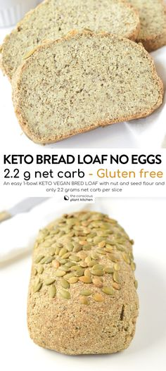 KETO Gluten free Vegan bread recipe Easy, Yeast free with only grams net carbs per slices. A delicious dense bread with wholegrain flavor. Keto Vegan, Sans Gluten Vegan, Vegan Keto Recipes, Vegan Bread, Easy Bread Recipes, Ketogenic Recipes, Ketogenic Diet, Tofu Recipes, Simple Gluten Free Bread Recipe