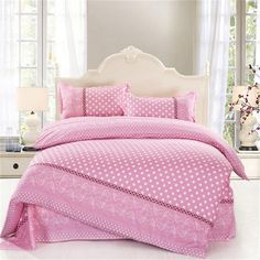 Ttmall Twin Full/queen Size Cotton Pink White Pattern Polka Dot for Girls Printed Duvet Cover Set/bed Linens/bedding Sets/bed Sets/bed Covers (Full/Queen, without comforter) Pink Bed Sheets, Girls Comforter Sets, Pink Bedding Set, Cheap Bedding Sets, Cotton Bedding Sets, Queen Bedding Sets, Luxury Bedding Sets, White Bedding, Affordable Bedding