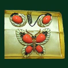 Let's Get Vintage - Additions New - Vintage TRIFARI spectacular L\\\'Orient butterfly brooch and Earrings Signed TRIFARI - Vintage Costume J...