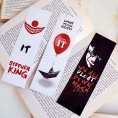 Stephen King Bookmark Etsy - You Searched For Stephen King Bookmark Etsy Is The Home To Thousands Of Handmade Vintage And One Of A Kind Products And Gifts Related To Your Search No Matter What Youre Looking For Or Wher Bookmarks For Books, Diy Bookmarks, Stephen King Tattoos, Stephen King Books, Pennywise The Dancing Clown, King Art, Funny Video Memes, Print Store, Love Book