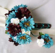 Silk Bridal Bouquet Package Turquoise Chocolate Brown custom wedding | AmoreBride - Wedding on ArtFire