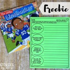 The Little Linebacker is a great story about determination. Stephen always dreamed of being a professional football player, but faced many obstacles. Along the way he received some great advice. Grab this FREE advice page to use with the text.