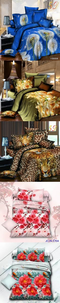 2017 New Arrival 3d Bedding Sets Leopard Printed Queen Size 4Pcs Bedclothes Pillowcases Bed Sheet Duvet Cover Set.