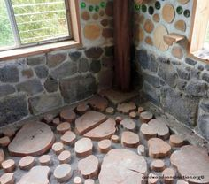 Cordwood Flooring DIY Cordwood Flooring is becoming more and more popular. It is showing up in remodels, in cordwood homes and in the garden.
