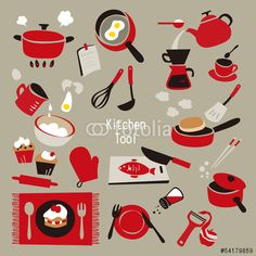 キッチン用品。鍋のイラストのアイデア