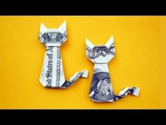 Easy Money Origami Animals - Easy Money Cat Origami Dollar Gift Idea Animal Tutorial Diy Money Unicorn Origami Animal 1 Dollar Tutorial Diy Folded No Glue Money Origami Animals Do. Easy Money Origami, Money Origami Tutorial, Origami Diy, Origami Simple, Useful Origami, Paper Crafts Origami, Origami Design, Oragami Money, Easy Dollar Bill Origami