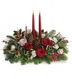 Order Christmas Wishes Centerpiece from Chester's Flower Shop And Greenhouses, your local Utica florist. Send Christmas Wishes Centerpiece for fresh and fast flower delivery throughout Utica, NY area. Table Flower Arrangements, Christmas Flower Arrangements, Christmas Table Centerpieces, Christmas Greenery, Christmas Flowers, Christmas Candles, Flower Centerpieces, Christmas Wishes, Christmas Wreaths