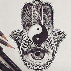 Hand of Hamsa tattoo design, Abby Charlesworth - tattoos Mandala Tattoo Design, Mandala Arm Tattoo, Buddha Tattoo Design, Tattoo Designs, Buddha Tattoos, Lotus Tattoo, Tattoo Ink, Hamsa Design, Armor Tattoo