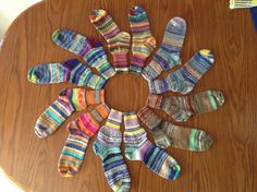 What do you do with all those leftover bits of yarn from making socks? Why, you make CRAZY socks on your sock machine! Crochet Socks, Knit Or Crochet, Knitting Socks, Knit Socks, Circular Knitting Machine, Crazy Socks, Sock Yarn, Knitting Projects, Fiber Art