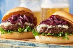Check out this delicious recipe for Blue Cheese Burgers with Red Wine Onions from Weber—the world's number one authority in grilling.