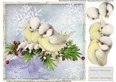 Winter Birds Snowflakes Card Topper Decoupage on Craftsuprint - Add To Basket!