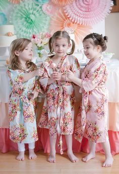 Little Girl Robes - Kids Spa party robes, Kimono Crossover Robes, Perfect Baby shower gift, Kids robes, Photoprops, Mommy Baby Collection