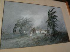 REINALDO MANZKE (1906-1980) Brazilian art gouache painting of rural from jbfinearts on Ruby Lane