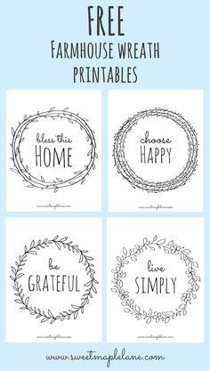 Free farmhouse wreath printables from Sweet Maple Lane!