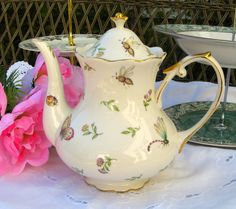 TEAPOT with dragonflies bees and flowers