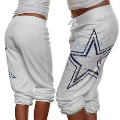 Dallas Cowboys Ladies White Dolly Capri Fleece Pants
