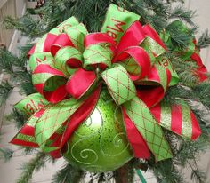 red and lime christmas ornaments bow ornament tree decoration over the top ornament large christmas ornament - Large Christmas Bows