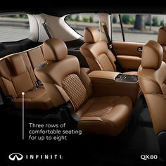 Step inside comfortable, capable luxury with the 2019 INFINITI With spacious seating for up to eight, is an SUV you'll love spending time in – whether you're behind the wheel, relaxing in the passenger seat or enjoying the ride in the row. Infinity Suv, Infiniti Qx 80, Luxury Suv, My Ride, Custom Cars, Lamborghini, Ferrari, Step Inside, Cool Cars