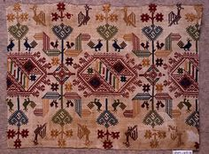 Design of geometric forms with stylized plants and birds in red, yellow, blue, green and tan on white ground. Embroidery Motifs, Embroidery Fashion, Silk Ribbon Embroidery, Cross Stitch Embroidery, Cross Stitch Patterns, Greek Pattern, Vintage Cross Stitches, Cross Stitch Bird, 18th Century