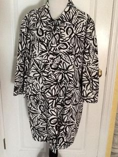 3aef6d49e34ba Jones New York Black White Spring Summer Xl Coat Size 16 (XL