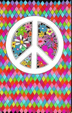☮ American Hippie Art ~ Peace Sign .. Pattern Design Wallpaper