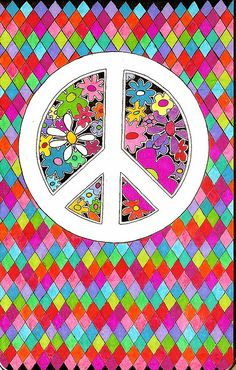 ☮ American Hippie Art ~ Peace Sign .. Pattern Design Wallpaper