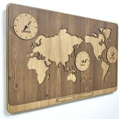 Wooden World Map Clock Has 3 Time Zones Wall Vintage Decoration on the Table or Shelf