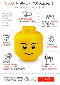 Lego in anger management activities for children. Use worksheeks, games, techniques or a quiz.
