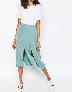Image 2 ofASOS Soft Midi Skirt with Splices