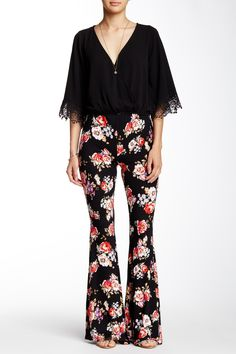 Never enough florals. California Moonrise Floral Print Flared Pant.