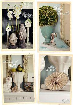 Green, blue & white mantel decoration inspiration.