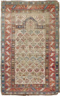 "NLR 551- Distressed antique Caucasian Prayer rug. 3'1""x 4'7"" #AntiquePrayer #BohemianBohoDstressed"