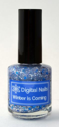 Winter is Coming: A blue and white winter themed glitter polish by Digital Nails